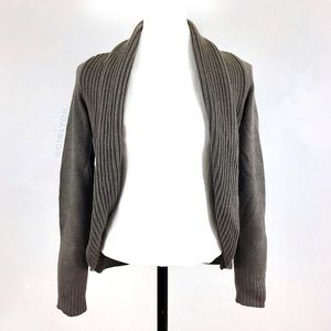 H&M Taupe Shawl Collar Open Cardigan